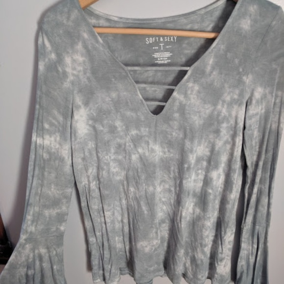 aerie Tops - Aerie Soft & Sexy Tie-Dyed Tee with Flared Wrists
